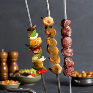 Mixed Vegetables Skewer,Malagueta Prawn Cutlets,Grain Fed Filet Mignon