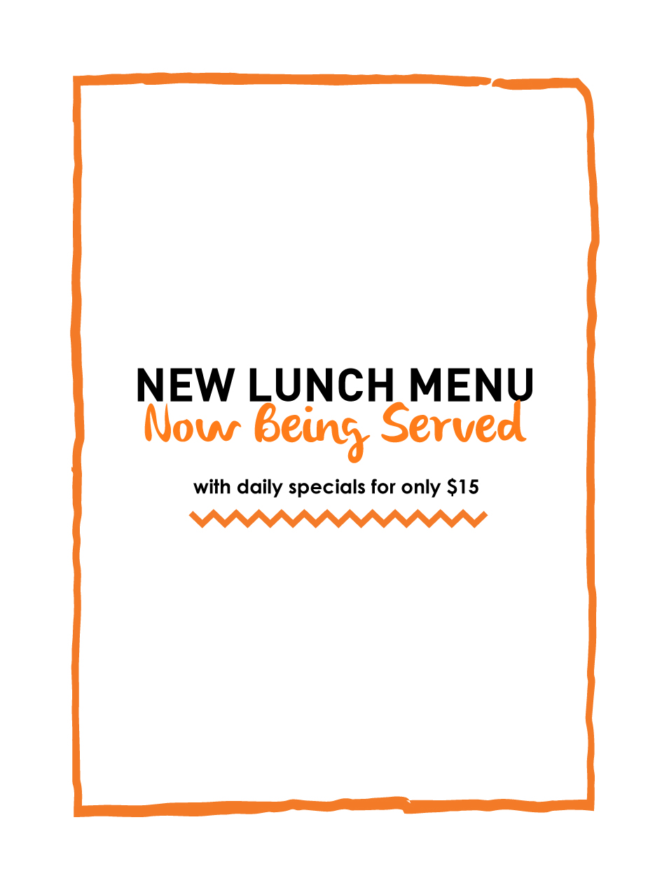 New Lunch Menu Now Being Served