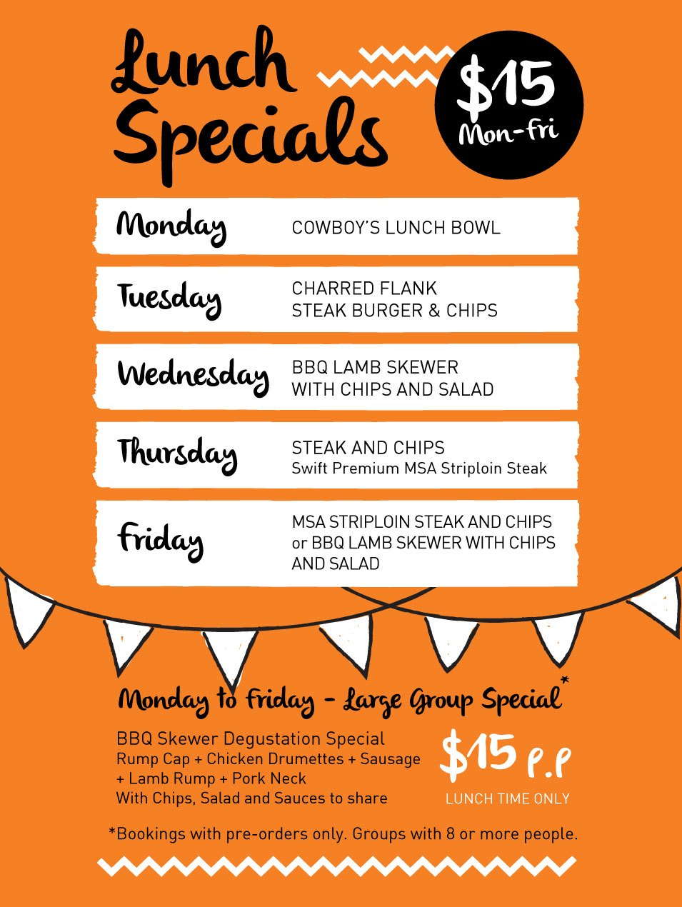 Lunch Specials - $15, Monday to Friday